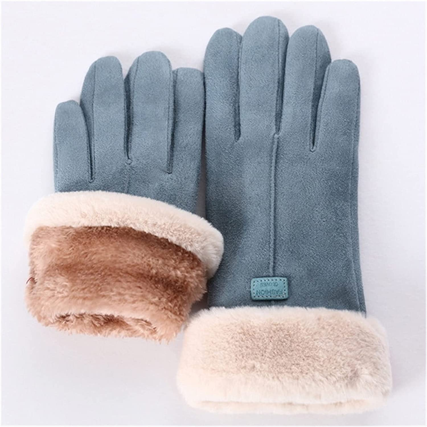DMYONGLIAN Lace Gloves New Winter Female Lace Warm Cashmere Three Ribs Cute Bear Mittens Double Thick Plush Wrist Women Touch Screen Driving Accessories (Color : E822699, Gloves Size : One Size)