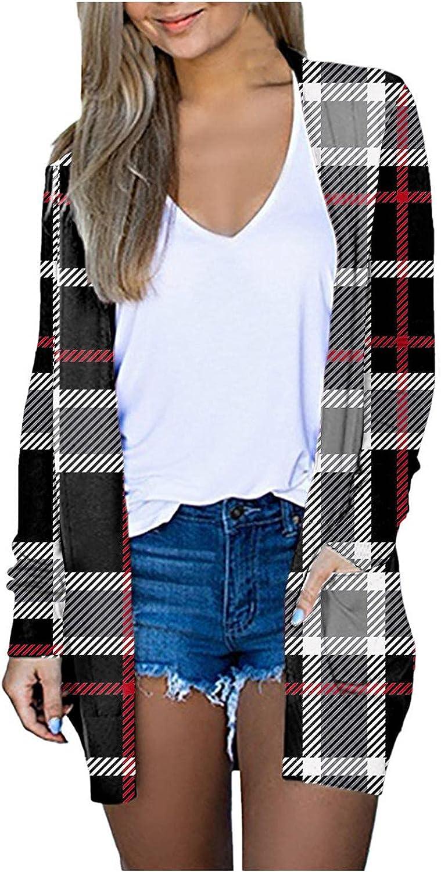 FABIURT Cardigans for Women,Women's Open Front Cardigan Shirt with Pockets Long Sleeve Lightweight Fall Kimono Jackets
