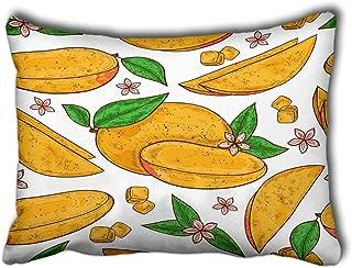 YILINGER Decorative Throw Pillow Cover Mango Tropical Fruit Leaves Flower Cube Color Sketch Decor Pillow Case 20