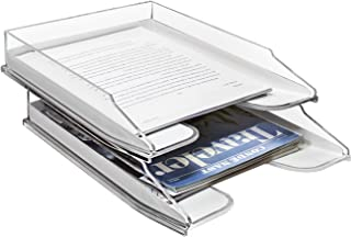 Sorbus Letter Tray, Modern Acrylic Paper Organizer Tray, Clear Desk File Holder - 2 Level, Desktop File, Stackable Magazine Holder, Mail Sorter, Great for Home or Office, (File Holder Tray Set)