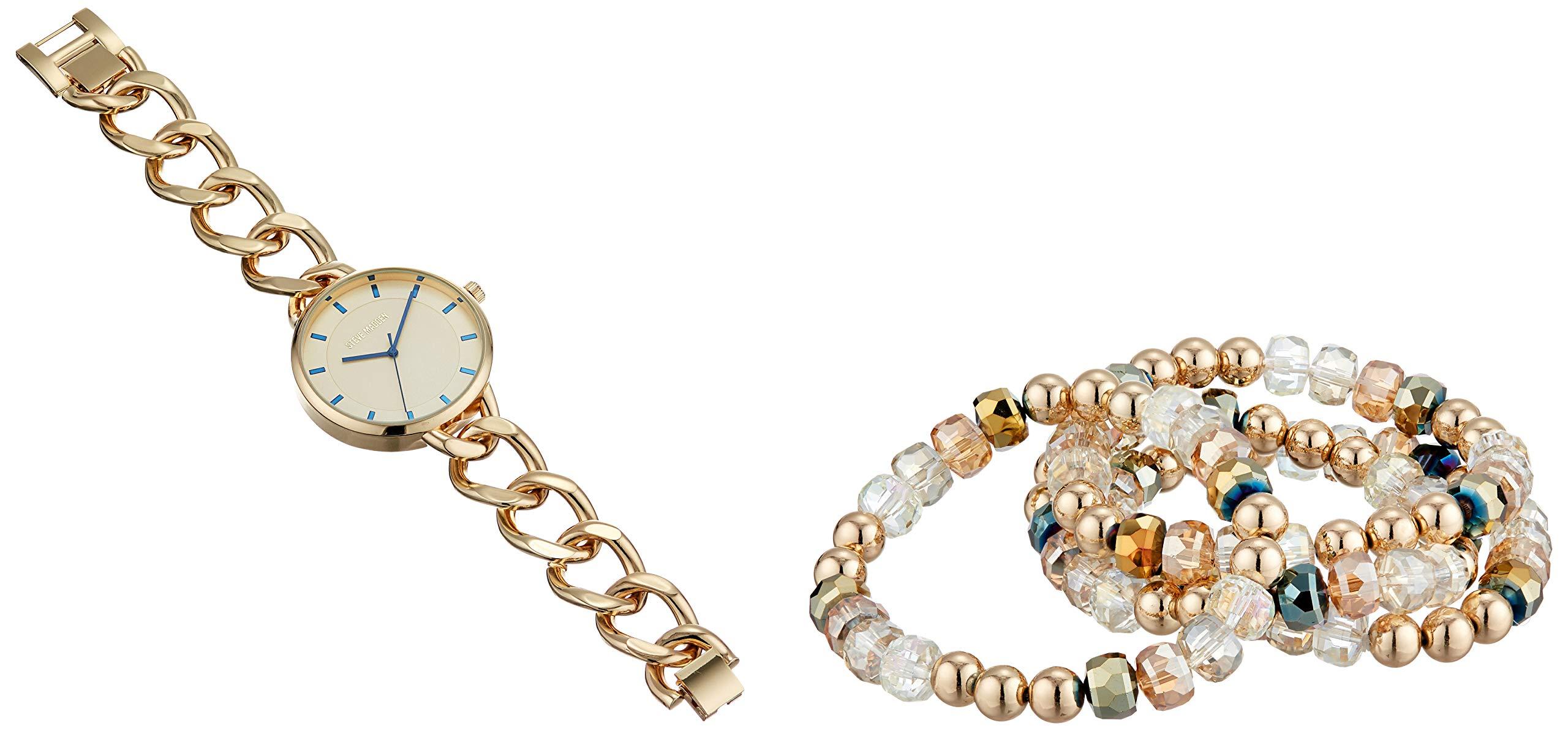 STEVE MADDEN Curb 链式手表多串珠弹力手链套装(多种颜色)