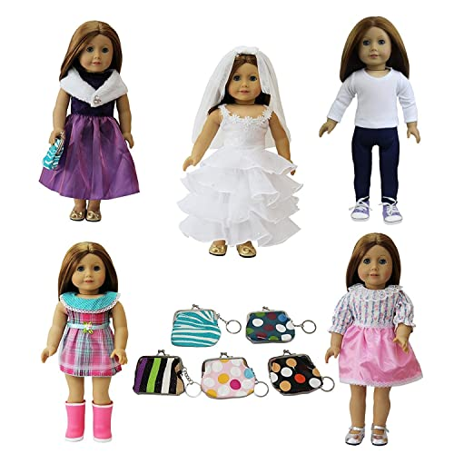 ZITA ELEMENT 6 Pcs 18 Inch American Doll Clothes and Accessories 996600c43