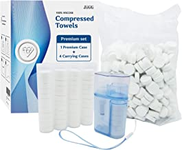 Compressed Towels – 500 Bulk Pack Water Wipes Set – Toilet Paper Tablets with Dispenser and 4 Carrying Cases – Camping Toilet Paper, Baby Wipes, Coin Tissues – Compressed Disposable Napkins
