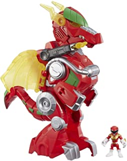 """POWER RANGERS - Playskool Heroes - 3"""" Red Ranger and 14"""" Dragon Thunder Zord - Lights & Sounds - Mighty Morphin Power Rang..."""