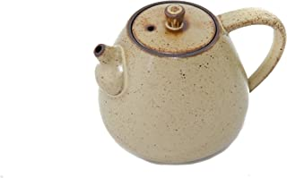Handmade Chinese Gongfu Ceramic Teapot For One (Pale Mustard) - Small (175ml - 5.92 oz) - Uniquely Designed by Bamboo Mist Tea - Perfect Gift for Tea Lovers - Cute Single Person Size
