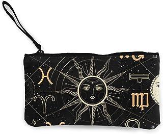 Yuanmeiju Cartera de Lona con el Sol, la Luna y Las Estrellas Exquisitos monederos El Monedero de Lona pequeño se Utiliza ...