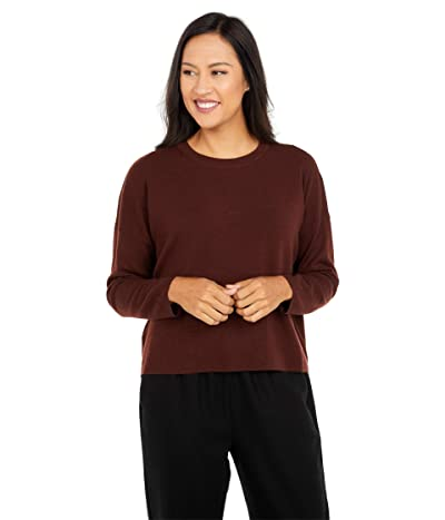 Eileen Fisher Crew Neck Box Top (Brown Stone) Women