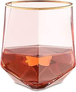 Rose All Day - Stemless Geometric Gold-Rimmed Rose Wine Glasses - Set of 4