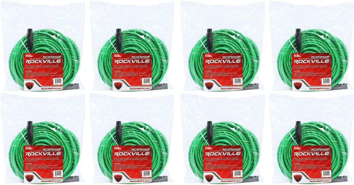 8 Rockville RCXFM100P-G Green 100' Female C REAN Special price Mic XLR to Male Ranking TOP15