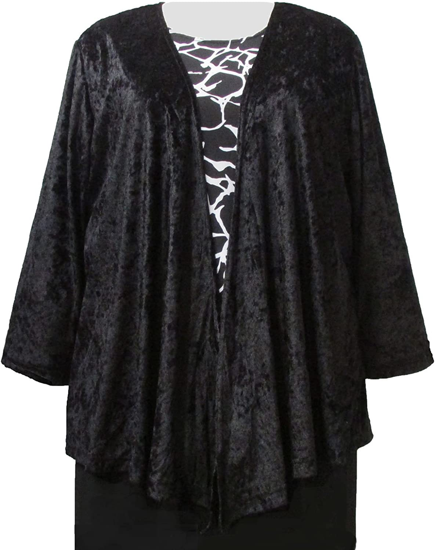Black Crushed Panne Delicate Drape Woman's Plus Size Cardigan