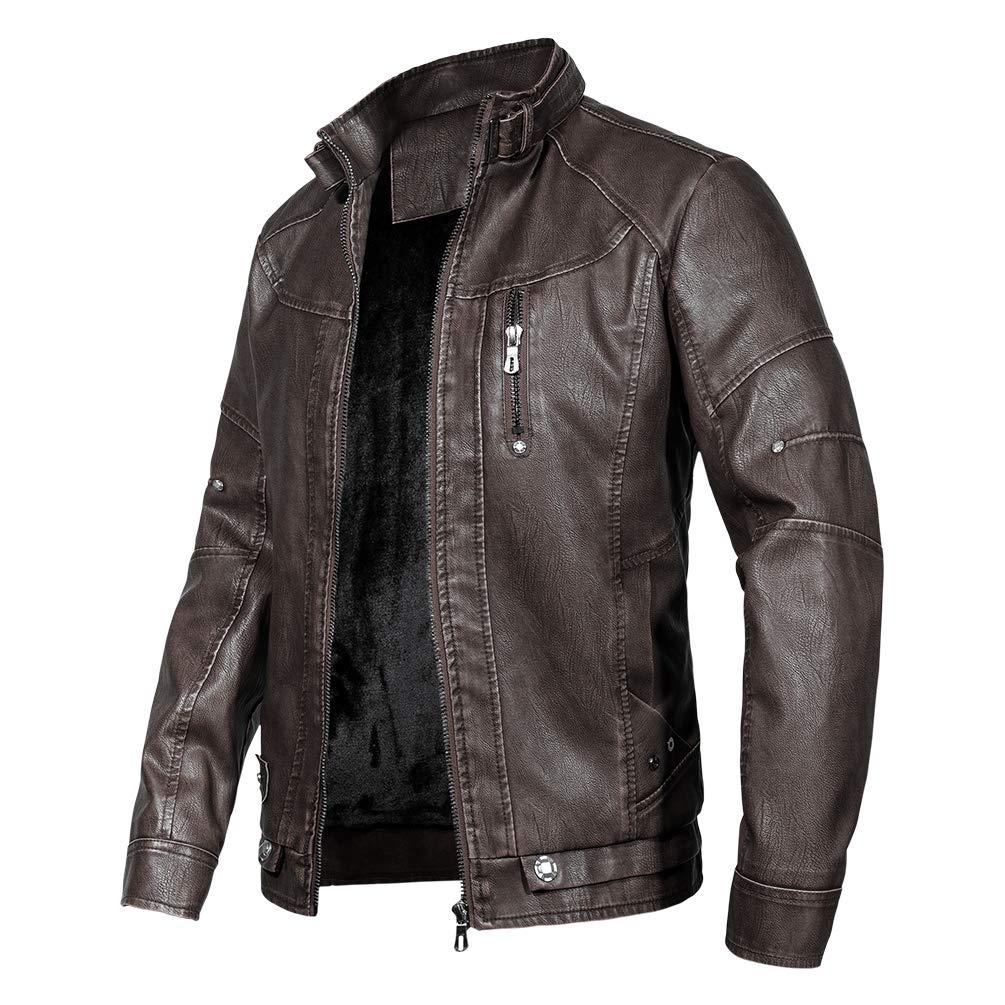 WULFUL Vintage Collar Leather Motorcycle