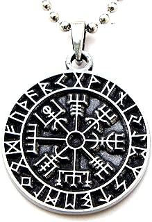 Guidepost Compass Talisman Viking Protection Vegvisir Elder Futhark Pendant W Silver Ball Chain