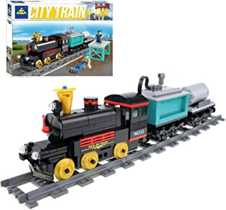 inFUNity Motorized Steam Engine Train Blocks Compatible with Lego Train Track, Electric Train Set