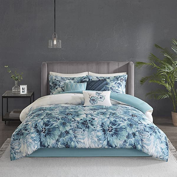 Madison Park Enza Comforter Reversible Floral Flower Watercolor Print Cotton Embroidered Ruffle Pleated Pillow Soft Down Alternative Hypoallergenic All Season Bedding Set King Teal
