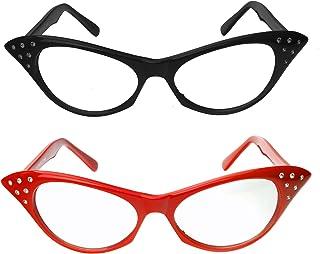 Cat Eye Glasses with Rhinestones - 50`s 60`s Retro Glasses (2 Pack) (Red & Black Cat Eye Glasses)