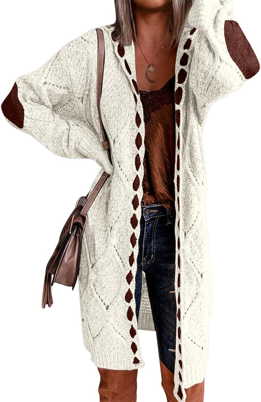Hemlock Women Plus Size Cardigans Long Coat Open Front Knit Cardigan Sweaters Retro Winter Coat Outwears