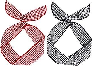 Xinlie 2 Piezas Mujere Conejito Del Ala Del Oído Banda para La Cabeza Vintage Cinta Pelo Flexible Accesorios para el Pelo Cross Anudado Elástico Banda para Mujeres y Chicas