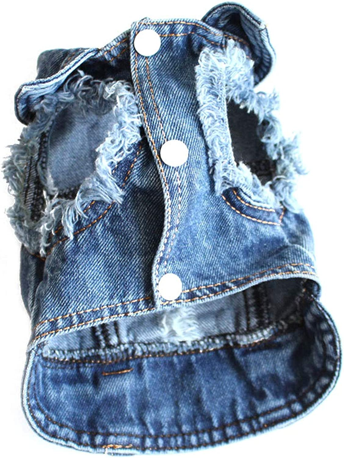 Huayue Pet Spring and Summer Clothes Teddy Laciniate Denim Vest (color   bluee, Size   M)