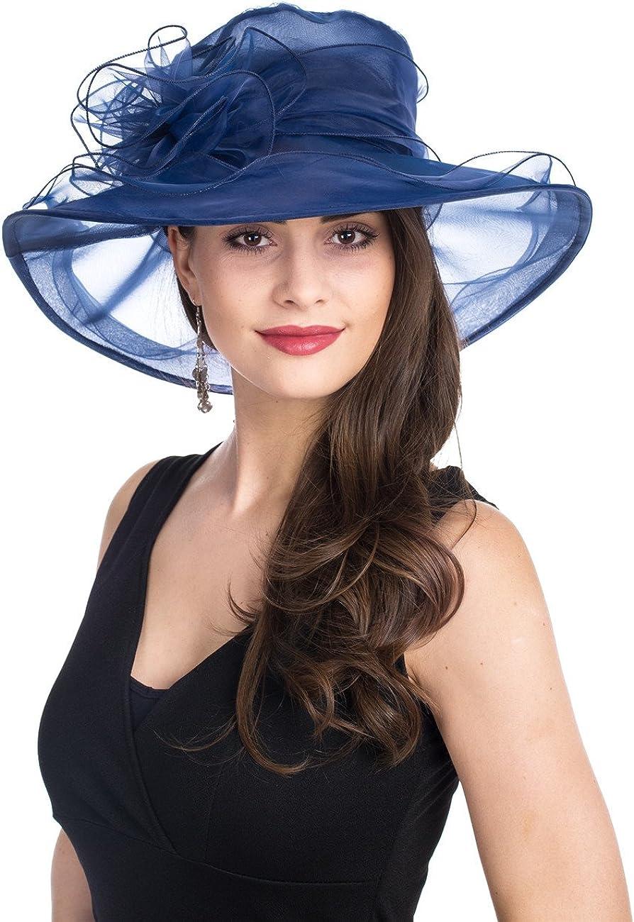 SAFERIN Women's Organza Church Kentucky Derby Fascinator Bridal Tea Party Wedding Hat…