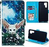 Huawei P30 Pro H�lle Lader Tasche PU Lader H�lle Gemalt Muster Flip Brieftasche Kartenhalter Magnetschnalle St�nder Sto�fest Kratzfest Sto�stange Handyh�lle Elf Wolf