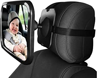 Baby Car Backseat Safety Mirror, Wide Convex Mirror, Adjustable Shatter Proof, Give Clear View of Infant in Rear Facing Ca...