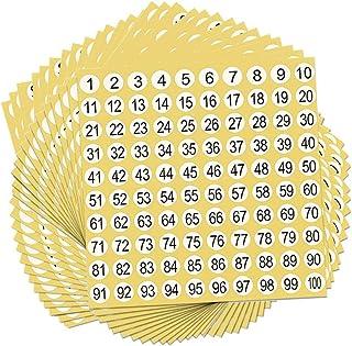 Fortspang Étiquettes Chiffres,90 Feuilles Étiquettes Autocollantes Numérotés de 1 à 100 Nombre d'Étiquettes Adhésifs Rond ...