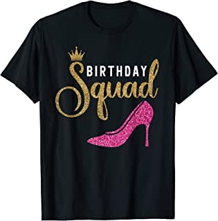 Birthday Squad Shirt for Women Queen Golden Pink Shoe Family