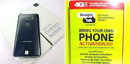 Samsung Galaxy Note 5, 32GB, (Verizon)(Straight Talk), Black Sapphire runs on Straight Talk's $45 unlimited plan via Verizon's 4G LTE Towers . (Renewed)