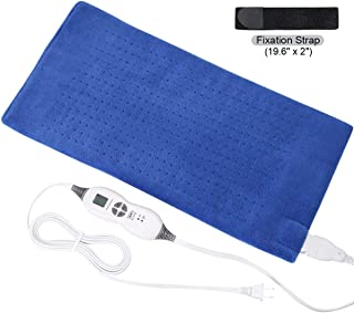 Tech Love Electric Heating Pad with Auto Shut Off Electric Moist Heated Therapy for Neck Shoulder and Back Pain Relief Extra Large 12 x 24 - Blue