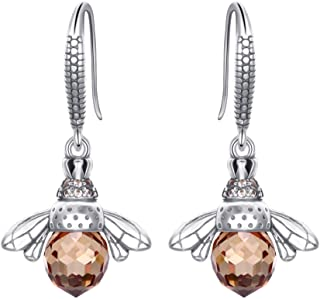 EleQueen 925 Sterling Silver Vintage Inspired Brown Crystals Queen Bee Earrings Jewelry for Women