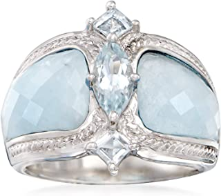 Ross-Simons Milky Aquamarine & .85 ct. t.w. Blue Aquamarine Ring in Sterling Silver