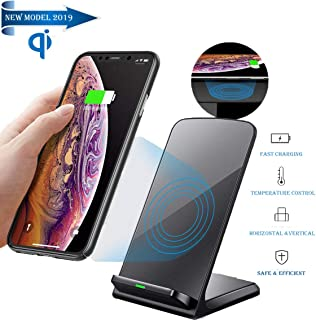 Fast Wireless Charger Stand, Qi-Certified 7.5W for iPhone 11/11 Pro/11 Pro Max/Xs MAX/XR/XS/X/8 8 Plus, 10W Cordless Charging for Galaxy Note 10/Note 10 Plus/S10/S10 Plus/S10E(No AC Adapter)