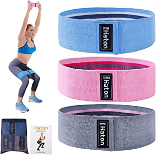 Haton Resistance Bands, Anti Slip Exercise Bands for Legs and Butt, Fabric Booty Sports Fitness Resistance Loops Bands, 3 ...