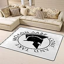 Area Rug Rugs Carpet Spartan Helmet Slogan Molon Labe Come Take Badge Appliquefor Living Room Bedroom 60