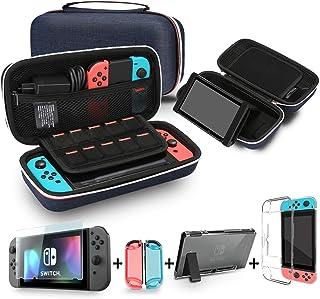 comprar comparacion Bestico Kit de Accesorios para Nintendo Switch, incluye un Funda con Soporte para Nintendo Switch, 1 Cristal Templado Prot...