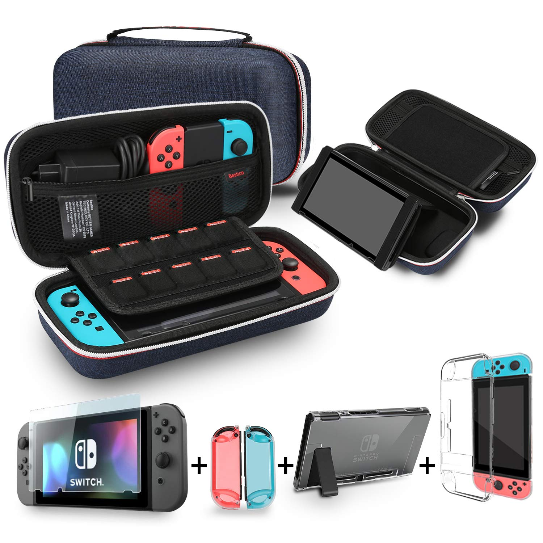Bestico Kit de Accesorios para Nintendo Switch, incluye un Funda con Soporte para Nintendo Switch, 1 Cristal Templado Protector de Pantalla , Transparente Estuche Protector: Amazon.es: Electrónica