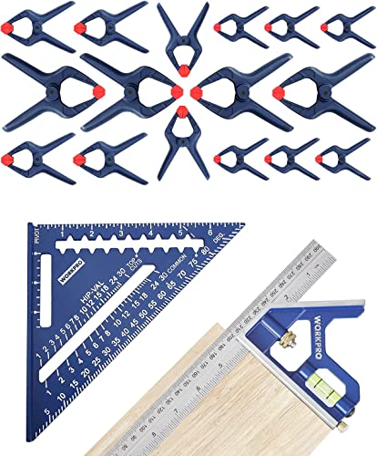 """wholesale WORKPRO Rafter Square and Combination Square Tool online Set & sale 16-Piece Spring Clamp Set -4pc 6-1/2"""" Clamps, 6pc 4-1/2"""" Clamps, 6pc 3-3/8"""" Clamps online sale"""