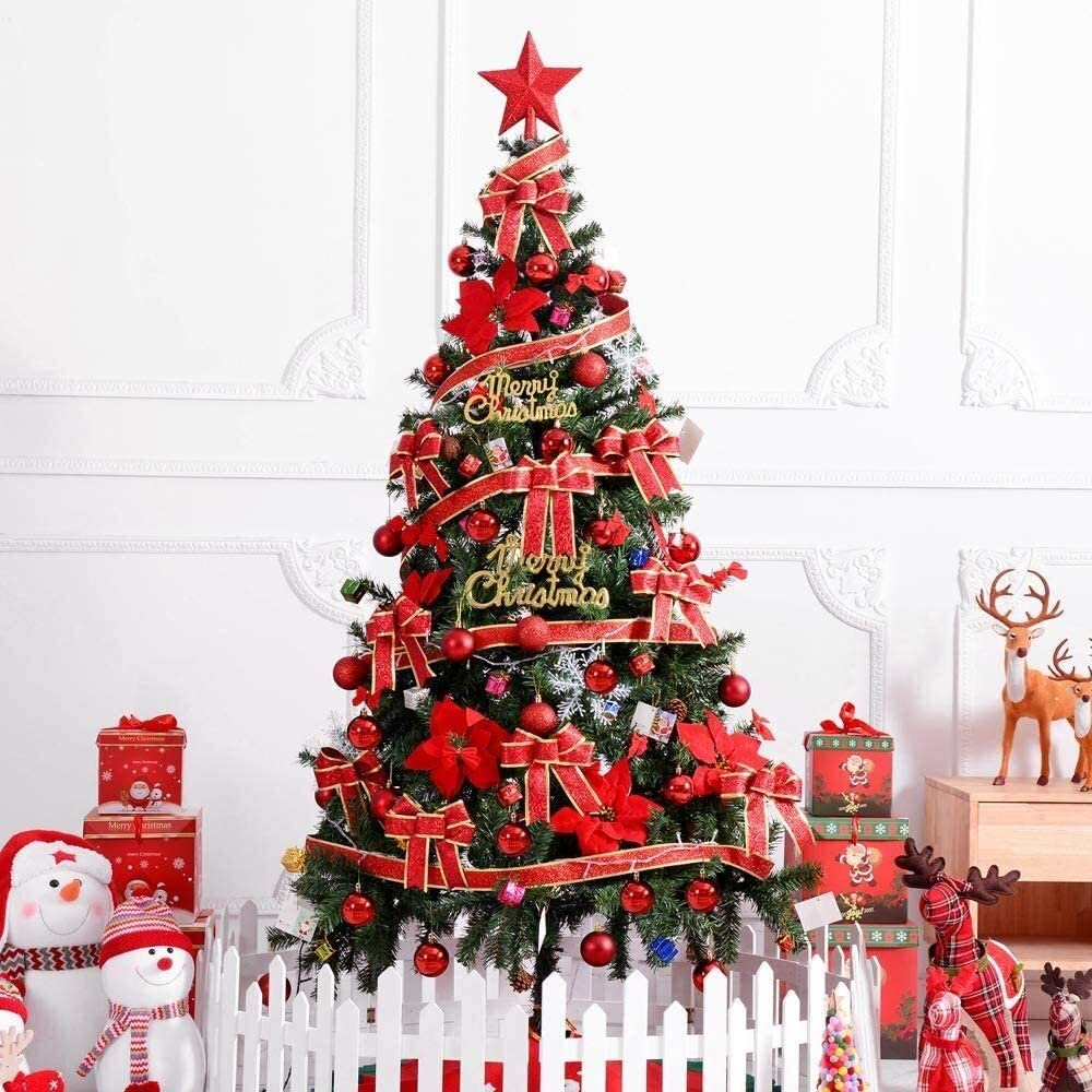 WSXEDC Kunstmatige Kerstboom met ornamenten en Lights BosKerstmis versiering, zoals 180cm 122Pcs Ornamenten Christmas decoration wreath (Color : Red) Red