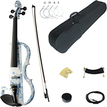 Kinglos 4/4 White Blue Flowers Colored Solid Wood Advanced Electric/Silent Violin Kit with Ebony Fittings Full Size (DSG1201)