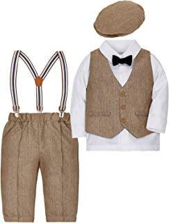 CARETOO 4-Piece Baby Boys Clothes Sets Romper Christening Suit Set Long Sleeve + Shirt + Trousers + Vest + Hat Bow Tie Toddler Gentleman Cotton - Christening Wedding Christmas for Autumn