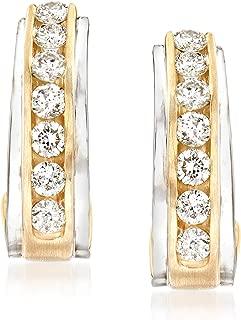1.00 ct. t.w. Diamond Hoop Earrings in 14kt 2-Tone Gold