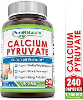 Pure Naturals Calcium Pyruvate, 1500 Mg, Per Servings - #1 Fat-Burning Formula for Thighs Helps Support Metabolism (240 Count)