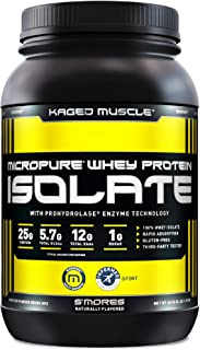 Whey Protein Powder, Kaged Muscle 100% Whey Protein Isolate Powder for Post Workout Recovery & Muscle-Building, Whey Isola...