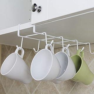 Colgador de Cocina para 8 tazas, 28 x 4 x 19 cm, Colgador para Tazas Almacenamiento de Cocina Rack Armario gancho de Organizador Soportes Para Tazas (Blanco)