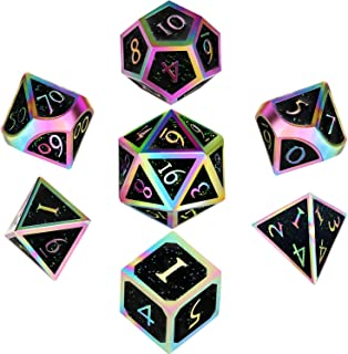 Hestya 7 Pieces Metal Dices Set DND Game Polyhedral Solid Metal D&D Dice Set with Storage Bag and Zinc Alloy with Enamel for Role Playing Game Dungeons and Dragons, Math Teaching Colorful Glitter Black