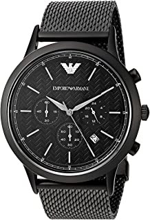 Emporio Armani Men's Black Dial Stainless Steel Band Watch - AR2498