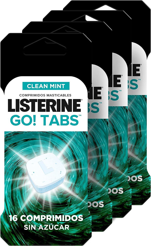 Listerine, Go! Tabs, Comprimidos Masticables Sin Azúcar, Boca Limpia y Fresca, Contra el Mal Aliento, Pack 4x16 comprimidos