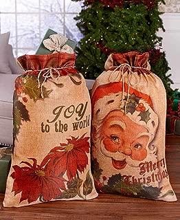 Christmas Holiday Santa Claus Giant Jumbo Oversized Gift Sacks Drawstring Bags Shopping Bag Storage Set of 2
