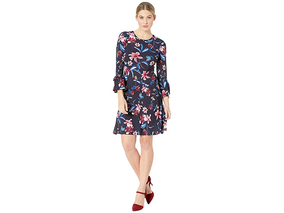 Nine West Floral Fit Flare Dress with Bell Sleeve and Tie Detail At The Sleeves (Navy/Raspberry Multi) Women