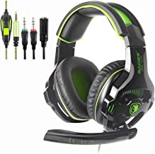 Gaming Headset with Microphones, Sades SA810 3.5mm in-line Volume Control Wired Noise Isolation Bass Surround Over-Ear Headphones Compatible for PS4 PC Mac iPad iPod Laptop (Green)